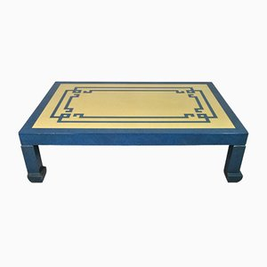 Blue & Ivory Lacquer Coffee Table Attributed to Tommaso Barbi, 1970s