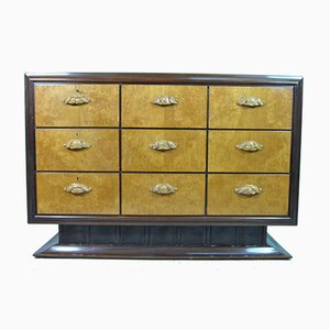 Italian Maple & Mahogany Chest of Drawers with Black Lacquered Glass Top, 1940s