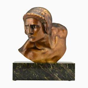 Busto Art Deco in bronzo di Constant Roux per Susse Frères, anni '20