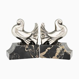 Art Deco Silvered Bronze Dove Bookends from Scribe, 1930s, Set of 2