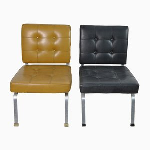 Italian Beige & Black Skai Lounge Chairs with Steel Frame, 1960s, Set of 4