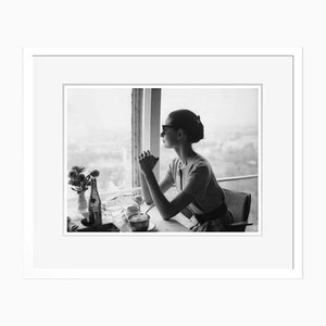 Lunch with Audrey Hepburn Archival Pigment Print Framed in White by Alamy Archives