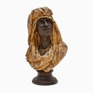 Busto in bronzo massiccio antico di un uomo moresco