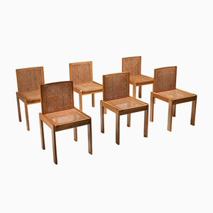 Dining Chairs in Oak and Cane, 1970s, Set of 6
