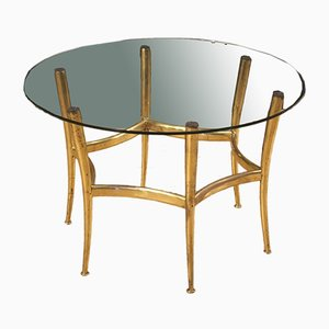 Table Basse en Laiton Doré avec Plateau en Verre, Italie, 1950s