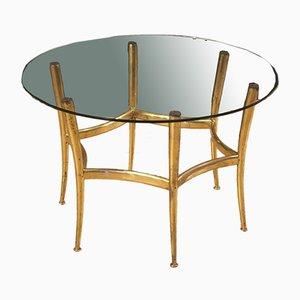 Tavolino da caffè in ottone dorato con ripiano in vetro, Italia, anni '50