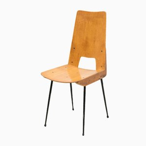 Mid-Century Wooden Dining Chairs in the Style of Carlo Ratti, 1950s, Set of 4