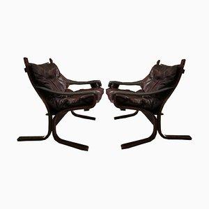 Butacas Siesta de cuero de Ingmar Relling para Westnofa, 1964. Juego de 2