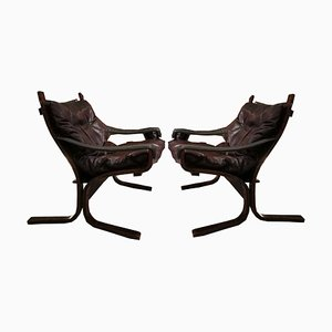 Leather Siesta Armchairs by Ingmar Relling for Westnofa, 1964, Set of 2