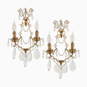 Antique Maria Teresa Swarovski Beaded Sconces, Wien, Set of 2