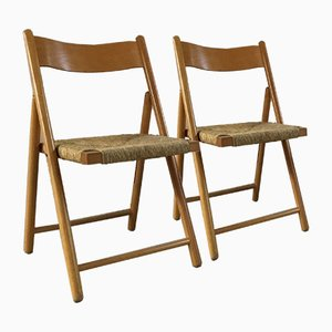 Mid-Century Plywood Seagrass Folding Chairs, 1960s, Set of 2