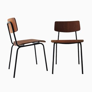 Vintage Plywood Dining Chairs, 1960s, Set of 2