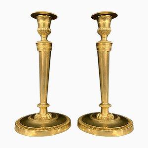 Bougeoirs Empire en Bronze avec Patine Dorée, Set de 2