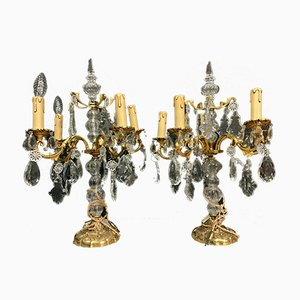 Antique Gilt Bronze & Crystal 5-Arm Girandoles, Set of 2
