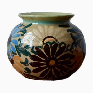 Vintage Vase with Flowers by Jean Garillon for Elchinger