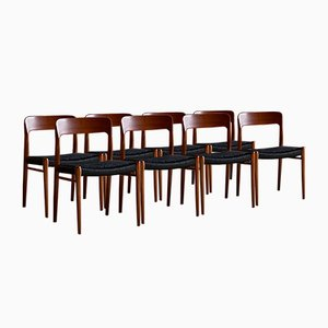 Teak and Black Paper Cord Model 75 Dining Chairs by Niels Otto Møller for JL Møllers Møbelfabrik, 1970s, Set of 8