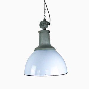 Lampe à Suspension Industrielle Vintage en Émail Bleu Clair de ELKO, 1960s
