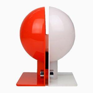 Lampe de Bureau Space Age Orange & Blanche par Sergio Brazzoli pour Guzzini, 1970s