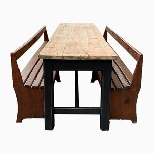 Brewery Table & Benches, 1940s, Set of 3