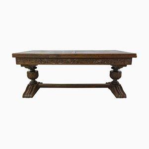 Mid-Century Spanish Renaissance Style Oak Dining Table, 1940s