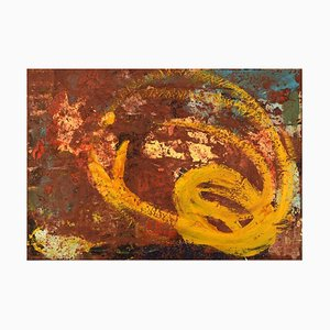 Danish Modernist Composition Oil on Canvas by Ursula Backhaus