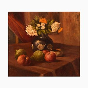 Danish Still Life with Flowers and Fruits Oil on Canvas