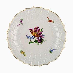 Plat Rond Antique en Porcelaine Peinte à la Main avec Motifs Floraux