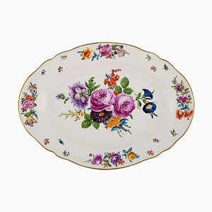 Large Antique Dish in Hand-Painted Porcelain with Floral Motifs from KPM, Berlin