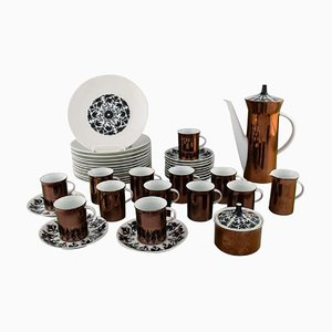 Complete Berlin Hilton Coffee Service for 12 People by Bjørn Wiinblad for Rosenthal, 1980s, Set of 39