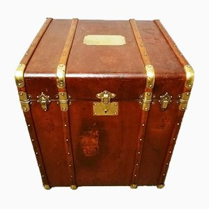 Vintage French Brass Steamer Trunk, 1920s