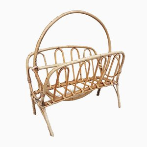 Mid-Century Wicker & Bamboo Magazine Rack