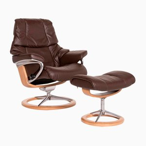 Dark Brown Leather Reno Armchair & Stool from Stressless