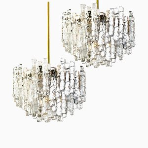 Large Modern 3-Tiered Brass & Ice Glass Chandeliers by J.T. Kalmar, 1960s, Set of 2