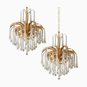 Tear Drop Glass 6-Light Chandelier Pendant Lights by Palwa, 1960s, Set of 2