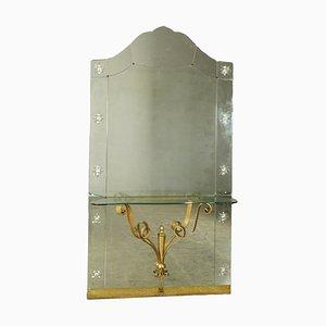 Italian Glass & Wrought Iron Mirror, 1950s