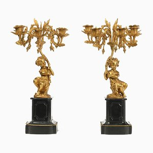 19th Century Gilt Bronze Candelabras, Set of 2
