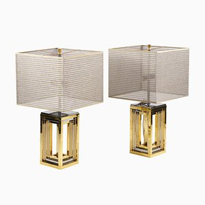 Table Lamps in Chromed & Gilt Metal by Romeo Rega, 1970s, Set of 2