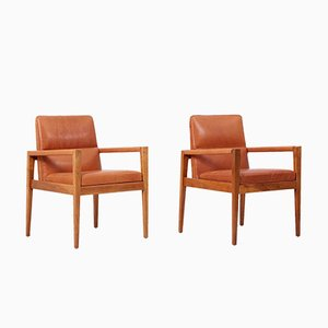 Armchairs in Walnut in Cognac Leather by Jens Risom, 1960s, Set of 4