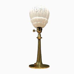 Französische Messing Tischlampe mit Glasschirm, 1930er