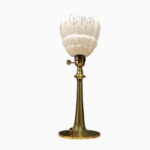 French Brass Table Lamp with Glass Shade, 1930s