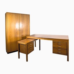 Mid-Century Scandinavian Executive Desk & Office Cabinet Set