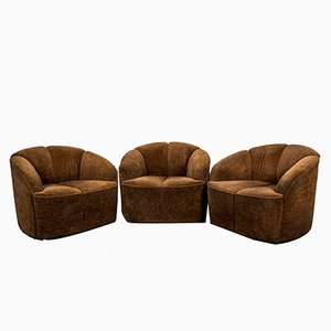 Velour Armchairs by Walter Knoll, 1960s, Set of 3