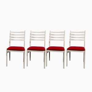 Mid-Century White Dining Chairs from Benze, 1970s, Set of 4