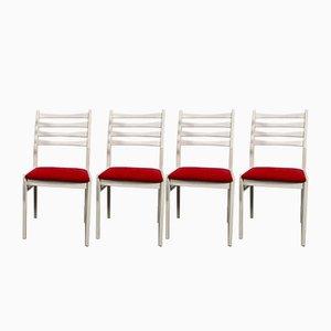 Weiße Mid-Century Esszimmerstühle von Benze, 1970er, 4er Set