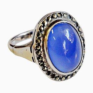 Kleiner Ovaler Blauer Skandinavischer Silber Ring, 1950er