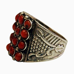 Small Red Stone Decorated Silver Ring, 1940s