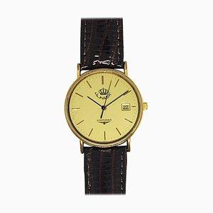 Runde vergoldete Uhr von Longines, 1990er