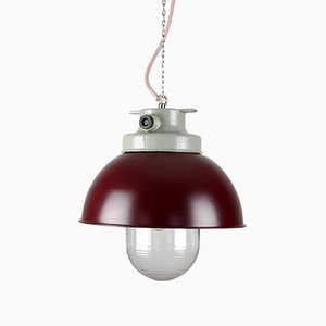 Vintage Burgundy Industrial Pendant Lamp from TEP
