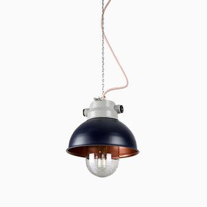 Vintage Dark Purple Small Industrial Pendant Lamp from TEP