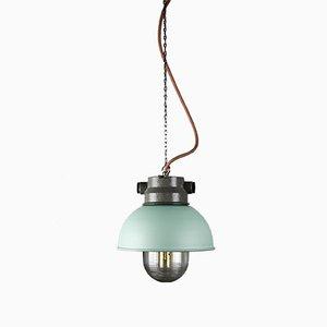 Lámpara colgante industrial vintage pequeña en menta de TEP